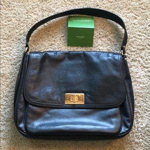 Kate Spade Black Leather Shoulder Laptop Bag Purse